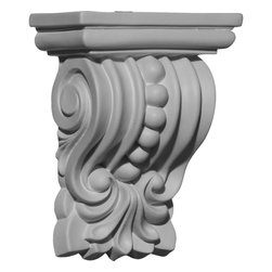 "Ekena Millwork - 4 3/8""W x 2 1/2""D x 5 5/8""H Palmetto Beaded Corbel - 4 3/8""W x 2 1/2""D x 5 5/8""H Palmetto Beaded Corbel. These corbels are truly unique in design and function. Primarily used in decorative applications urethane corbels can make a dramatic difference in kitchens, bathrooms, entryways, fireplace surrounds, and more. This material is also perfect for exterior applications. It will not rot or crack, and is impervious to insect manifestations. It comes to you factory primed and ready for your paint, faux finish, gel stain, marbleizing and more. With these corbels, you are only limited by your imagination."