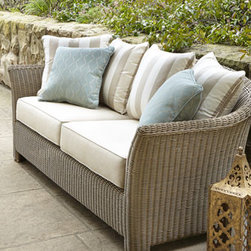 Horchow - Calais Outdoor Sofa - Unique modular wicker furniture with great dimension and texture brings classic transitional styling to outdoor living spaces. Made of all-weather resin wicker handwoven over aluminum frames with power-coat finish. Cushions made of Sunbrella® fab...