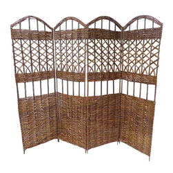 "Master Garden Products - Willow Screen, 4 Panel Divider, 72"" W x 60""H - Our self standing willow screen and room dividers can be used indoors or outdoors, in residential or any commercial facilities, to divide an area for privacy or to create an extra room. They can be folded and stored away easily when not in use. Our self standing willow screens are great for outdoors and indoors."