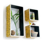 Blancho Bedding - [Yellow Zebra Stripe] Rectangle Leather Bookshelf / Floating Shelf (Set of 3) - These rectangle wall cube shelves add a new and refreshing element to your room and can be easily combined with other pieces to create a customized wall space. You can hang them on the wall, or have them stand on table or floor, any way you like. Coming in various colors and sizes, they spice up your home's decor, add versatility, and create a whole new range of storage spaces. Perfect for wall mounting, these modern display floating shelves are sure to delight. Constructed from MDF with a top faux leather wrapping. Fashion forward design has never been so functional. This range of faux leather storage cubes is sure to delight! Easy to mount, easy to love! Attractive shelf boxes give any wall in your home a striking appearance. Arrange in whatever fashion you like - whether it be grouped together or displayed separately. Each box serves as a practical shelf, as well as a great wall decoration.