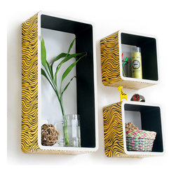 Blancho Bedding - Yellow Zebra Stripe Rectangle Leather Bookshelf / Floating Shelf  Set of 3 - These rectangle wall cube shelves add a new and refreshing element to your room and can be easily combined with other pieces to create a customized wall space. You can hang them on the wall, or have them stand on table or floor, any way you like. Coming in various colors and sizes, they spice up your home's decor, add versatility, and create a whole new range of storage spaces. Perfect for wall mounting, these modern display floating shelves are sure to delight. Constructed from MDF with a top faux leather wrapping. Fashion forward design has never been so functional. This range of faux leather storage cubes is sure to delight! Easy to mount, easy to love! Attractive shelf boxes give any wall in your home a striking appearance. Arrange in whatever fashion you like - whether it be grouped together or displayed separately. Each box serves as a practical shelf, as well as a great wall decoration.