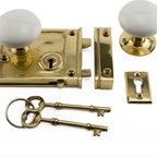 Horizontal Rim Lock Set with Porcelain Knobs - The Horizontal Rim Lock Set with Porcelain Knobs adds a historic touch to any home. Set includes everything needed for installation.