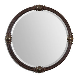 Uttermost - Dinora Round Mirror - Frame has a rust bronze finish accented with heavily antiqued, burnished champagne details. Mirror is beveled.