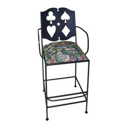 "Grace - Cards Bar Stool with Arms - Features: -Painted according to your choice of metal finish .-Ships fully assembled .-Dimensions: 26"" W x 24"" D x 46"" H .-Suited for Residential use only. About Grace Collection: Grace Manufacturing is a metal and wrought iron furniture manufacturing company located in Rome, GA. The company has been in business for 25 years and continues to employ skilled artisans and craftsmen. In addition to their state of the art manufacturing equipment they still assemble and finish many products by hand. Many items in the Grace Collection are fully hand made or hand painted. With products ranging from barstools, counter stools, and dinettes to wrought iron beds, hanging potracks, bakers racks and more, Graces line meets all professional and home needs. By implementing unique styles and ideas to traditional products, Grace has created an exceptional balance between creativity and practicality. Their design styles range somewhere between whimsical, neo classic and traditional, thus creating a truly astonishing decor for any inside space."