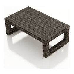 Forever Patio - Bayside Modern Wicker Coffee Table, Stone Wicker - The Bayside Coffee Table (SKU FP-BAY-CT-SW) is an excellent center piece for either your Bayside sofa set or sectional. The Stone Wood wicker is infused with color and UV-inhibitors, creating a look that will last throughout the seasons. It also sports a thick, flat-weave design that is brimming with modern beauty. The table includes a durable tempered glass top that gives it a touch of sophistication.