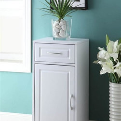 4D Concepts - Bathroom Base Cabinet with 1 Drawer - 1 Door. 1 Drawer. 1 Adjustable shelf behind the door. 1 Decorative vacuumed formed doors. Great storage unit for any room in the home. Clean with a dry non abrasive cloth. Constructed of composite board. Highly durable PVC laminate. Pewter colored handle. Assembly required. 14.88 in. W x 13 in. D x 32 in. H (34 lbs.)