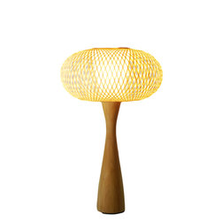 Fateday - Eco-Friendly Handwoven Bamboo Wooden Table Lamp - This table lamp is made with handwoven bamboo as the lamp shade and wood as its base. Complements any living room and gives a soothing feel. It is of Japanese style with contemporary minimalistic designs.