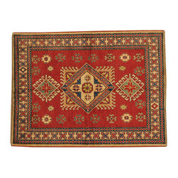1800-Get-A-Rug - Kazak Geometric Design 100% Wool Hand Knotted Oriental Rug Sh16654 - Our Tribal & Geometric hand knotted rug collection, consists of classic rugs woven with geometric patterns based on traditional tribal motifs. You will find Kazak rugs and flat-woven Kilims with centuries-old classic Turkish, Persian, Caucasian and Armenian patterns. The collection also includes the antique, finely-woven Serapi Heriz, the Mamluk Afghan, and the traditional village Persian rug.