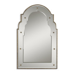 Shaped Beveled Wall Mirror With Rosettes - *This decorative mirror features a shaped beveled mirror with rosettes.  The narrow frame is heavily antiqued gold.