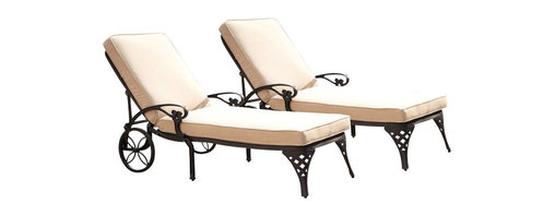 Home Styles - Home Styles Biscayne Black Chaise Lounge Chairs Set of 2 Taupe Cushions - Home Styles - Patio Lounges - 55548312 - Create an intimate conversation area with Home Styles� Biscayne Chaise Lounge Chair.