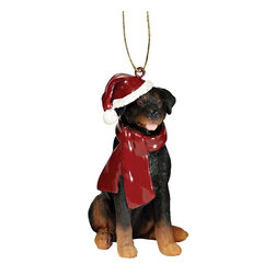 """EttansPalace - Rottweiler Holiday Dog Ornament Sculpture - With a festive Santa hat and red scarf, this adorable Rottweiler dog ornament has neither a """"bark"""" nor a """"bite"""" worth worrying over! Our Rottweiler dog ornament is realistically sculpted, cast in quality designer resin and hand painted for the """"discriminating dog lover"""". The perfect canine gift for Rottweiler dog aficionados and a fun way to include your pets in holiday decorating! Approx. 2.5""""W x 1.5""""D x 3.5""""H. .5 lb."""