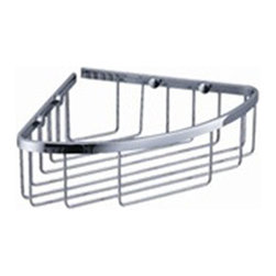 "Fresca - Fresca Single Corner Wire Basket - Chrome - Dimensions:  8""W x 8""D x 3""H. Heavy Duty Brass with Triple Chrome Finish.   All of our Fresca bathroom accessories are made with brass with a triple chrome finish and have been chosen to compliment our other line of products including our vanities, faucets, shower panels and toilets.  They are imported and selected for their modern, cutting edge designs."