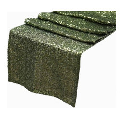 Chambury Casa - Sequined Table Runner, Willow Green, 12x108 - Celebrate your special day with your reception accented with these beautiful sequined table runners.