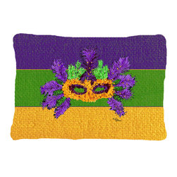 Caroline's Treasures - Mardi Gras Fabric Decorative Pillow - 12 inch x 16 inch 100 percent Polyester Fabric pillow Sham with pillow form. This pillow is made from our new canvas type material and can be used indoors or outdoors.  Mildew resistant, stain resistant, fade resisitant and Machine washable.  Made in the USA!