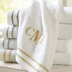"""Pearl Embroidered Bath Towel, Dark Porcelain Blue - An embroidered string of pearls borrowed from our Pearl Embroidered Bedding punctuates our 700-gram cotton towels. Dotted with satin-stitched pearls. See available colors below. Machine wash. Oeko-Tex certified, the world's definitive certification for ecologically safe textiles. Catalog / Internet Only. Made in Portugal. Monogramming is available at an additional charge. Monogram is 3"""" and will be centered at one end of the bath and the hand towels."""