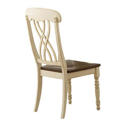 Homelegance - Homelegance Ohana Side Chair in White & Cherry [Set of 2] - Side Chair in White & Cherry belongs to Ohana Collection by Homelegance The design of Ohana Collection captures the essence of a casual country home. Its antique white and warm cherry, or antique black and warm cherry finishes give it a striking 2-toned apprearance. The solid wood table top with butterfly leaf and unique chai  Side Chair (1)