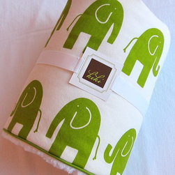 Baby Blanket, Lime Elephant/Minky by Kiki - These elephants come in an adorable kelly green that is perfectly gender neutral. I love the presentation of this particular blanket; it makes a great baby gift.
