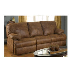 Catnapper - Ranger 379 Reclining Sofa in Tanner - Seats 3. Attractive sewing details highlighted with double needle stitching. Durable steel seat box. Unitized steel base. The strongest, most durable base in the recliner industry. Resists bending or wear. Reclining Mechanism:. Installed with noiseless sure-lock spring clips. Strongest recliner seat box available. No warping or splitting in this critical area (standard on most models). Direct drive cross bar ensures that both sides of the mechanism operate together, in sequence, for longer life. Heavy 8-gauge sinuous steel springs in the seat provide strength, comfort and flexibility. Made of faux leather. No assembly required. Limited lifetime warranty. 90 in. L x 40 in. W x 40 in. H (202 lbs.)