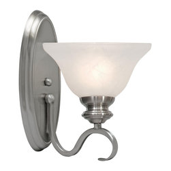 Golden Lighting - Lancaster 1 Light Wall Sconce - Pewter - Light up your entry, stairwell or hallway with this versatile sconce that has the ability to adjust to any situation. Its easygoing transitional style walks the line between traditional and modern, with an elongated backplate, subtly scrolled arm and a marbled glass shade.