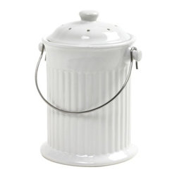 Norpro Ceramic Compost Keeper, White - I love to cook, so this attractive kitchen compost pail is just right to help me use those rich vegetable peels for my garden.