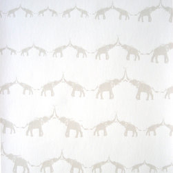 "Jill Malek - Baby Elephant Walk Rain Sample - Baby Elephant Walk has a 27"" x 36"" repeat and is a straight-across pattern match. All rolls are hand-screen printed and come untrimmed and unpasted in 27"" x 15 ft rolls. All wallpaper is printed in upstate New York."