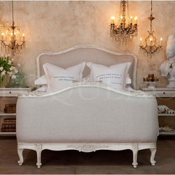 """Eloquence - Eloquence Sophia Bed - Antique White - Antique Reproduction Sophia Bed in Louis XV Corbeille Style. Beautifully hand finished in our Antique White and upholstered in fog linen. Footboard is 40 tall. 10 yards to re-upholster. King available as well."""""""""""""""
