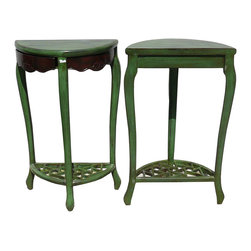 Golden Lotus - Rustic Green Color Solid Wood Plant Stand Pedestal Table - This unique tall plant stand is a combination of two separated half moon shape stand. It is made of solid elm wood and has green lacquer on it.