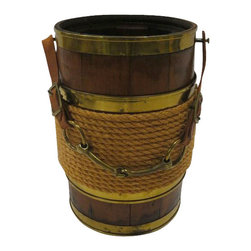 Horse Bit Bucket - One of a kind wooden plank bucket that features brass trim detailing, coiled rope around the center, and the truly unique leather strap and horse bit handle.  Can be used for anything- from a planter to an outdoor wine bucket.