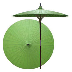 "Oriental-Décor - Melon patio umbrella - Eternity, family, harmony, peace and health are all related to the color green in Asian lore. Place this lovely green patio umbrella anywhere in your yard or outdoor area to create a feeling of tranquility and serenity.    - 7 foot umbrella pole constructed of rich stained oak hardwood.  - Each umbrella is entirely handcrafted down to the finest detail.  - Oil-treated cotton umbrella shades are all hand-painted by our master artists.  - Dual position shade height allows for full coverage or a better view of the painted shade.  - Waterproof and weatherproof.  - Two-piece pole fastens securely with a polished metal coupling.  - Pole diameter of 1.5"" easily fits into any standard size umbrella base or table.  - Optional umbrella base available - handcrafted from stained oak hardwood."