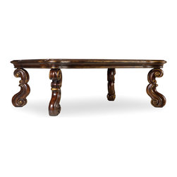 Hooker - Hooker Beladora Rectangular Cocktail Table in Caramel - Enrich your surroundings with the grand European elegance of Beladora. If you appreciate traditional forms, exquisite shapes, graceful curves and artistic hand work, the Beladora occasional collection by Hooker Furniture will lift your spirits each time you relax or entertain. The collection is dramatic and graciously scaled with maple and olive ash burl veneers accented by distinctive walnut inlays. Beladora pays homage to costly Old World antiques and showcases its exceptional design with a refined caramel finish with subtle gold tipping to accent the carving, chiseling and marquetry work all done by the hands of skilled craftsmen.
