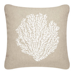 Wabisabi Green - Sea Fan Outdoor Eco Pillow, Shell White/Papyrus, 18x18, Without Insert - If you are blessed to live near the beach or have a getaway there, your outdoor patio is probably one of the best loved parts of the house and deserves its own decor. This hand-printed sea fan throw pillow is made from durable, ecofriendly fabric and UV-resistant ink that's safe to leave outside. In natural sand and white, it will blend with anything else out there, including the coastal landscape.