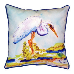 Betsy Drake - Betsy'S Egret Large Outdoor Pillow - Use outdoors or indoors.  Bring nature into your home.  Brightens up any room or patio. Fade resitant, tough and drurable.  Spot clean or machine wash.
