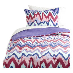 Dormify - Paintica Chevron Comforter Set, Queen - Pastel me a story.  Enchanting shades of purples, pinks, and blues paint this chevron comforter set. The Paintica Chevron Comforter, lusciously pre-filled, reverses to a soft purple allowing you be both simple or bold, and always so comfortable. Let our softest microfiber fabric in peaceful pastels lull you to sleep.