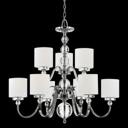 Quoizel - Quoizel DW5009C Downtown 9 Light Chandeliers in Polished Chrome - Cool, sleek sophistication is written all over this design. Gleaming glass ball accents complement the opal etched glass drum shade and shiny chrome finish, bringing a soft modern sensibility to your home.