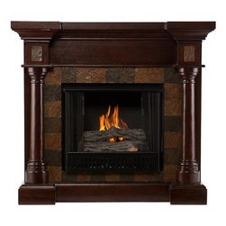 "Home Decorators Collection - Cameron Faux Slate Fireplace - Our Cameron Faux Slate Fireplace is characterized by elegant flanking columns, a mantel with deep counter-edge molding and a firebox border of square faux-slate tiles. Thanks to a collapsible top panel, it can be used as a corner fireplace or along a flat wall. Whether you place it in your living room, dining room or a bedroom, this fireplace offers a look of refinement.  The electric fireplace version of the Cameron Fireplace features realistic LED flames and embers; adjust both temperature and brightness with the included remote control. The gel fireplace version offers the snap and crackle of a wood burning fireplace with none of the mess. It can hold up to three cans of gel fuel simultaneously (fuel not included). Collapsible panel allows use on a flat wall or in a corner. Accommodates a flat panel television of up to 42.5""W. Mantel supports up to 85 lbs. Electric version includes 6' cord for plugging into a standard outlet. Electric version's remote control takes one CR2025 battery, included. Gel version includes cement logs, faux coal cinders and screen kit."