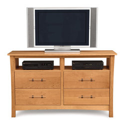 Copeland Furniture - Copeland Furniture Monterey 4 Drawer Dresser + TV Organizer 2-MNT-46-03 - The Monterey Bedroom gives traditional Arts & Crafts an Asian touch. The clean lines of the Monterey bed are perfectly complemented by a selection of case pieces. All pieces are crafted in solid cherry hardwood.