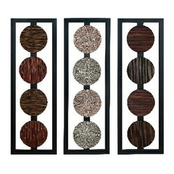 "Benzara - Set of 3 Wood Wall Decor Panel 35"" x 12"" - Set of 3 wood wall decor panel 35""x12"". Colors variation is due to hand crafted design. Dimension: Each piece is 35""H x 12""W."
