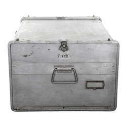 Used Vintage Seco Aluminum Food Service Storage Bin - How perfect! Now you can finally start that small-scale, local, catering company and tote your tasty treats around in this reclaimed Seco aluminum food service storage bin. You can breathe easy knowing that your mini quiches and pigs in a blanket are staying warm! Features three inside tracks to support food trays, one end door with latch and lock and two handles.