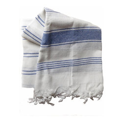 Turkish Cotton Bath and Beach Towel, Heather Blue Stripe - All cotton Turkish bath and beach towel with decorative heather tone stripes on white for a pure, clean look.  The fringe is not simply sewn on, but made by pulling threads at the bottom of the towel, knotting several of the threads together and then hand tying. Lightweight and quick drying.  Size is about 37 x 68 inches plus fringe.