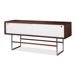 Guild Nines - Litebox Credenza, Walnut Veneer, White Doors - A straightforward aesthetic and solid craftsmanship make the Litebox an apt choice not only for living space, but also for the office or entryway. It's made in Michigan and crafted in classic walnut. The hand-burnished solid stainless steel frame with slim solid walnut stretchers lends the piece airiness.