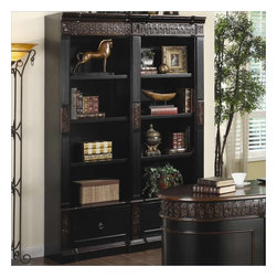 Coaster - Coaster Nicolas Carved Combination Bookcase in Dark Wood - Coaster - Bookcases - 800922 - This elegant traditional bookcase unit will add stylish storage to your home office. The large bookcase features rich details including intricately carved floral trim fluted molding and a classic molding plinth base. The two tone finish blends rich dark wood with a warm medium dark color for a unique look that will add depth to your space. Eight spacious shelves offering plenty of space to store books and show off your favorite decorative accent items. Two lower file drawers give are convenient too so you can keep important documents in order. Use one or bunch multiple bookcase units for a custom wall unit that fits your home office.