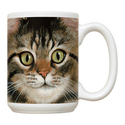 120-Brown Tabby Cat Mug - 15 oz. Ceramic Mug. Dishwasher and microwave safe It has a large handle that's easy to hold.  Makes a great gift!