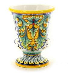 Artistica - Hand Made in Italy - Deruta Glt: Footed Vase (Dec. 198) - Deruta Vario Collection:
