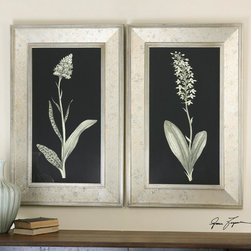 Uttermost - Uttermost Antique Floral Study Framed Art Set Of 2 - Frames Have A Champagne Silver Leaf Finish With The Center Section Having An Antiqued Silver Look With Aged Accents Showing Through. Prints Are Under Glass.