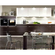 Contemporary Kitchen Cabinets Dark oak and white high gloss kitchen