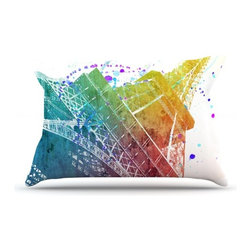 """Kess InHouse - Nika Martinez """"Paris Je T'aime"""" Watercolor Pillow Case, Standard (30"""" x 20"""") - This pillowcase, is just as bunny soft as the Kess InHouse duvet. It's made of microfiber velvety fleece. This machine washable fleece pillow case is the perfect accent to any duvet. Be your Bed's Curator."""