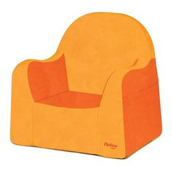 P'kolino - Little Reader, Orange - Make story time or TV viewing special with this adorable toddler's chair. Constructed of high-density foam and covered with soft, stain-resistant microsuede, it includes side pockets for books and a built-in handle for easy toting. The chair features a wide base for extra stability, and is recommended for ages 2 to 4.