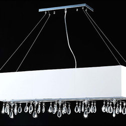 None - 5-light Rectangular Chrome Crystal Chandelier - A unique rectangular white shade and clear hanging crystals adorn this five-light chandelier. This light fixture features a chrome finish.