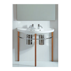 "Whitehaus Collection - Whitehaus LU020-LUA6-WHNWO Whitehaus 38"" China White/Natural Wood Double Ba - China Series large u-shaped basin china console with natural wood leg supports, polished chrome towel rails and chrome overflows."