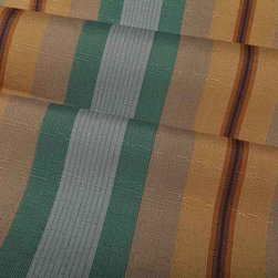 Park Avenue Stripe Fabric in Amber - Park Avenue Stripe Fabric in Amber is a yellow, teal, and beige printed discount designer fabric with alternating width stripes that add great dimension. These happy, bright pastel shades create a soothing look, like a breath of fresh air. Ideal for light upholstery projects or bedding and pillows. 100% Lyntex Width: 62″